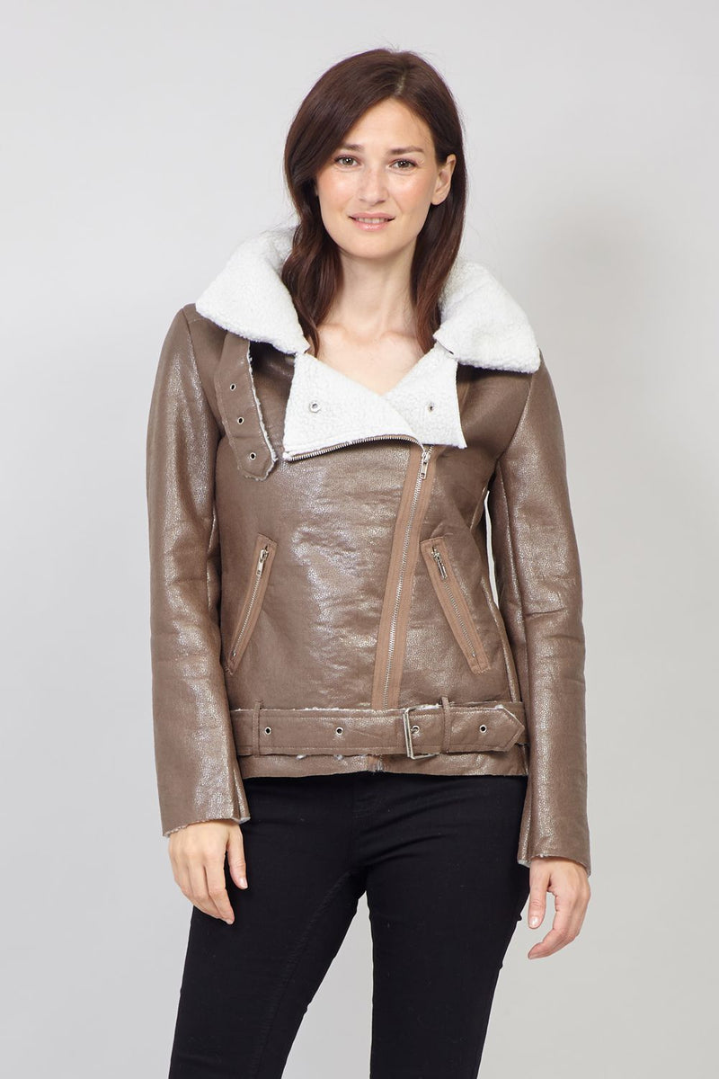 Brown | Faux Shearling Biker Jacket
