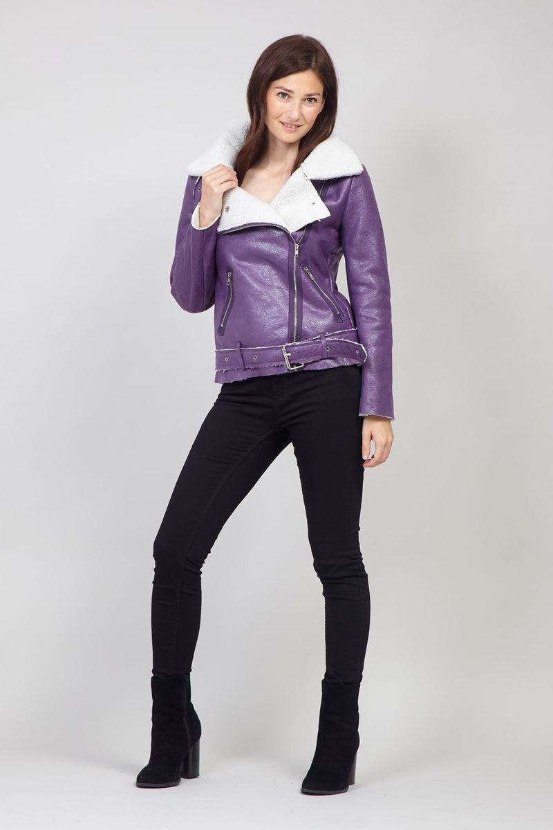 Purple | Faux Shearling Biker Jacket