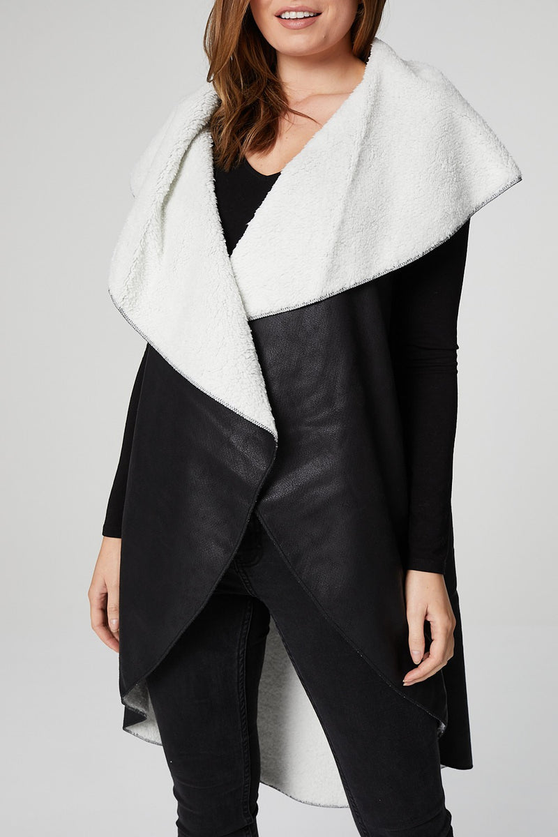 Black | Faux Shearling Open Front Jacket