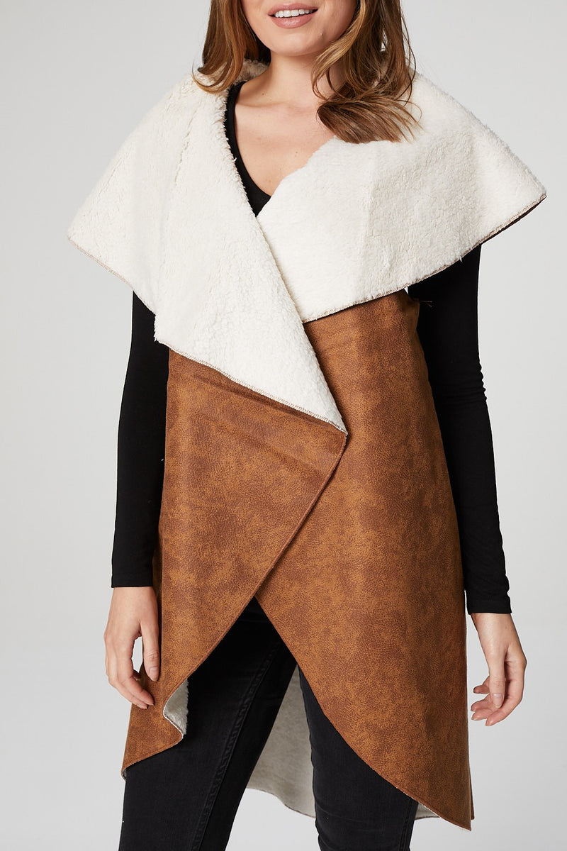 Brown | Faux Shearling Open Front Jacket