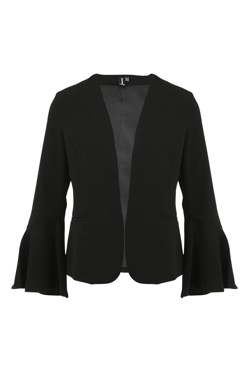 Black | Fluted Sleeve Blazer