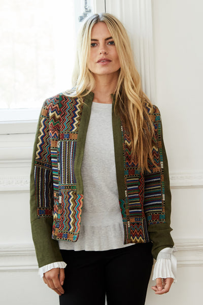 Green | Patchwork Open Front Jacket