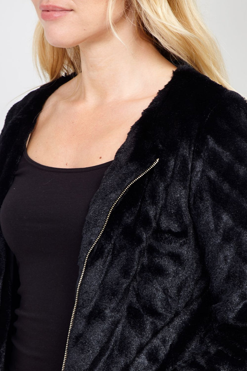 Black | Faux Fur Bomber Jacket