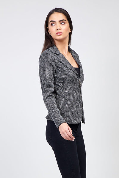Black | Zip Front Blazer Jacket