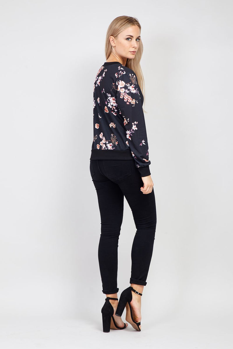 Black | Floral Bomber Jacket