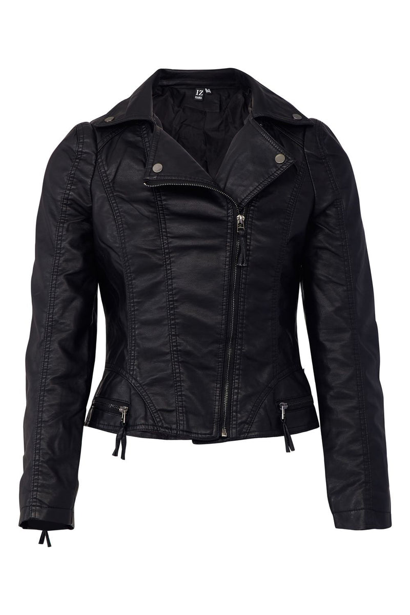 Black | Faux Leather Cropped Biker Jacket