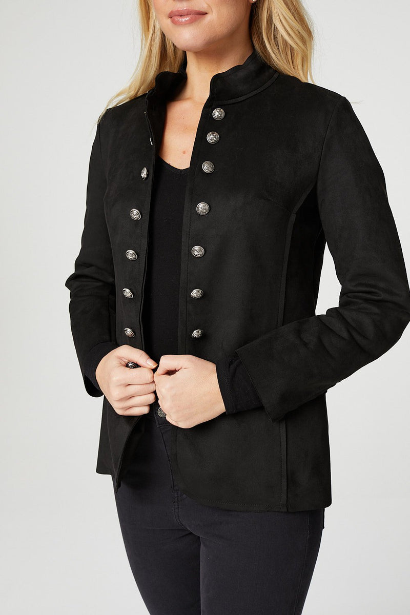 Black | High Neck Military Style Blazer