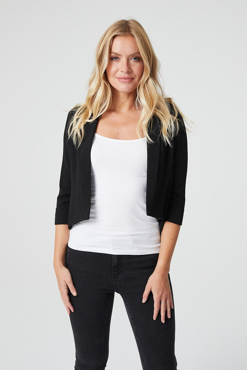 Black | Sheer Cropped Open Front Jacket