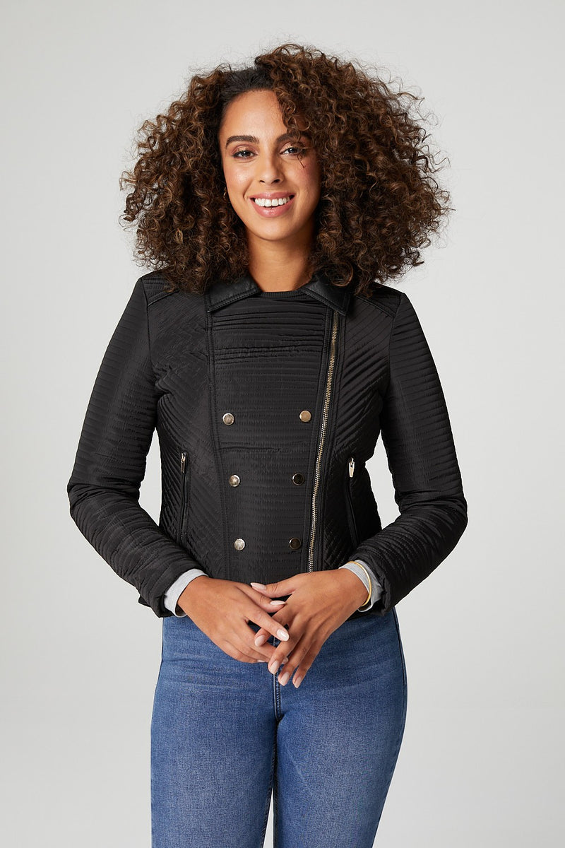 Black | Button Front Biker Jacket
