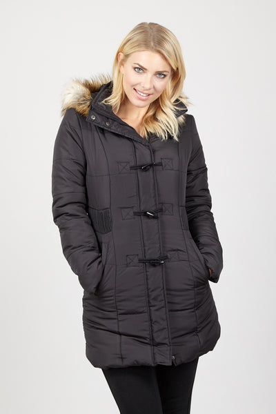 Padded Coat with Faux Fur Hood - Izabel London