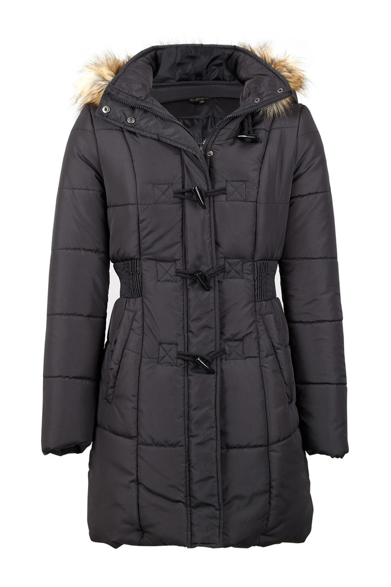 Black | Padded Coat with Faux Fur Hood