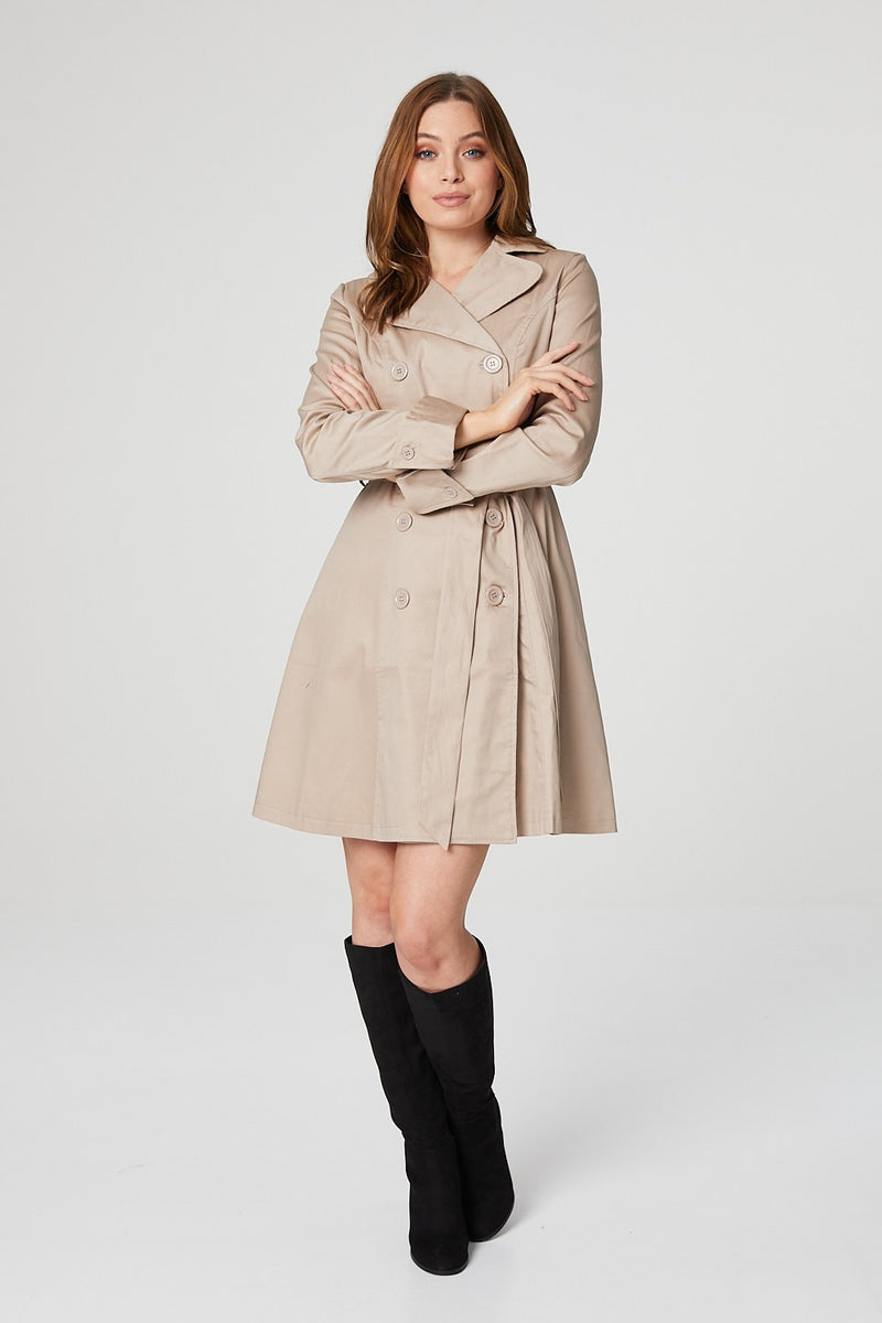 Beige | Button Front Trench Coat