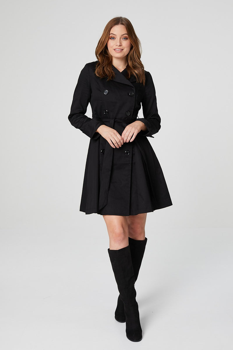 Black | Button Front Trench Coat