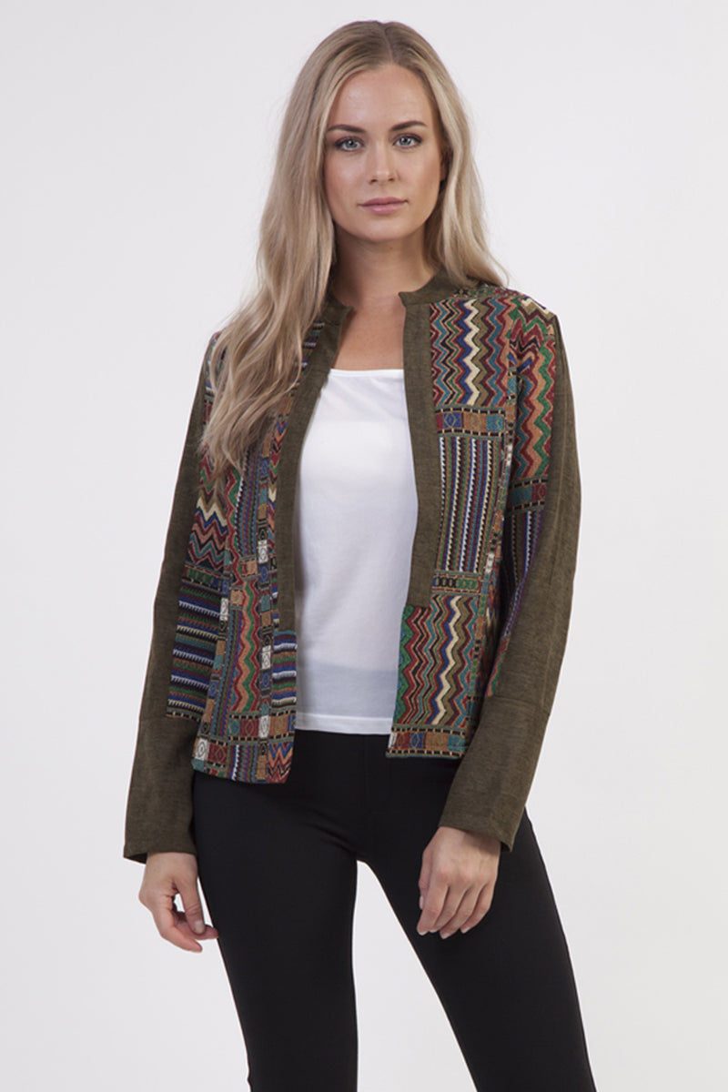 | Patchwork Open Front Jacket | Izabel London