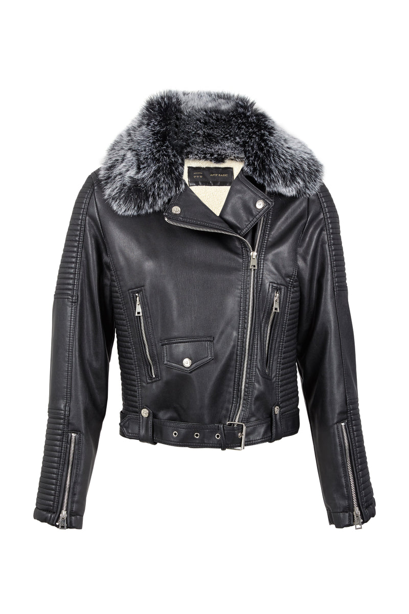 Black | Faux Fur Collar Biker Jacket