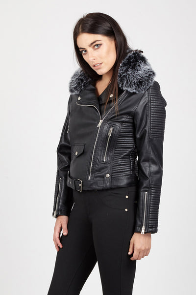 Faux Fur Collar Biker Jacket - Izabel London