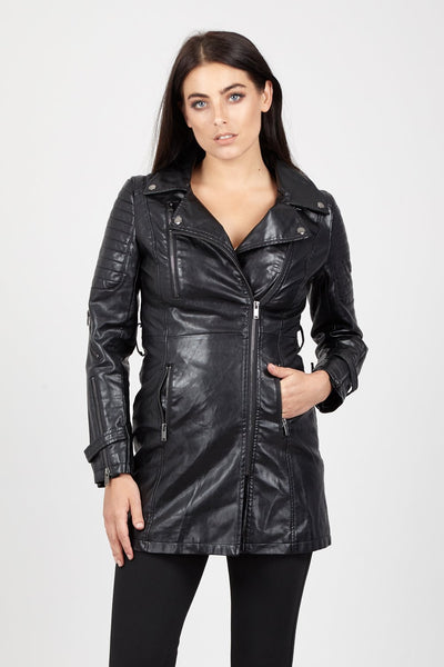 PU Leather Longline Jacket - Izabel London
