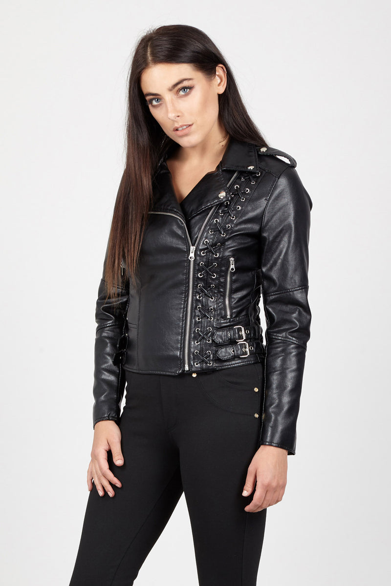 e2bd8ceead72 Lace Up Detail Biker Jacket – Izabel London