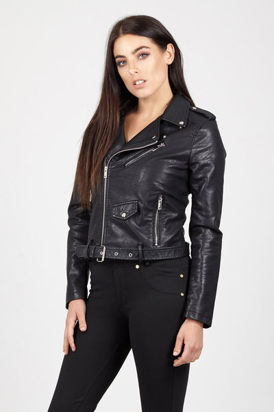 Cropped Biker Jacket - Izabel London