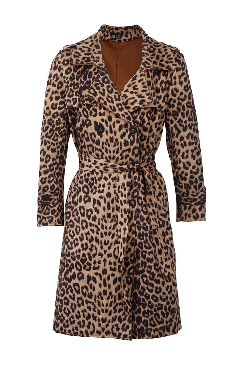 Beige | Animal Print Trench Coat