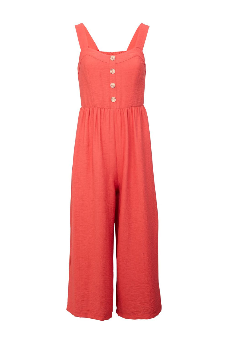 Red | Button Front Culottes Jumpsuit