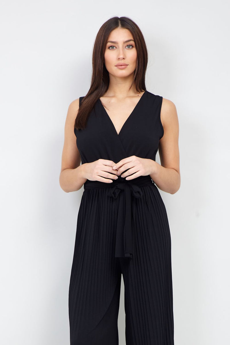 Black | Wrap Front Pleated Jumpsuit