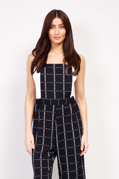 Checked Wide Leg Dungarees - Izabel London