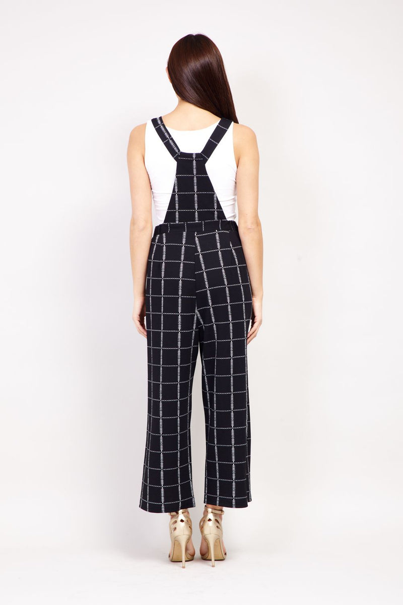 Black | Checked Wide Leg Dungarees