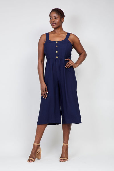 Navy | Curve Button Neck Cropped Jumpsuit | Izabel London