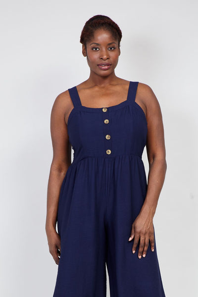 Navy | Curve Button Neck Cropped Jumpsuit