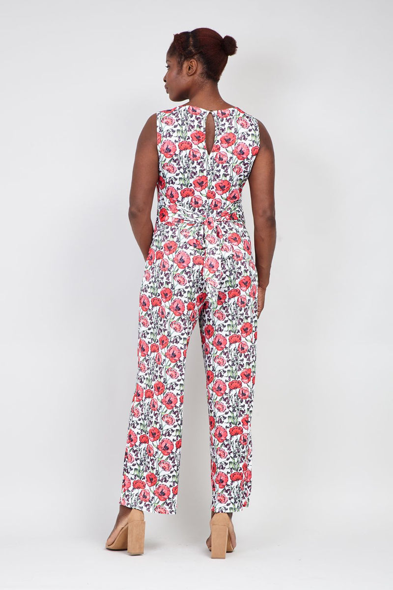 Red | Curve Poppy Print Jumpsuit