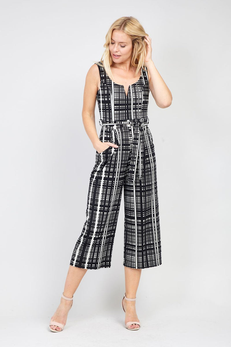 Black | Grid Print Jumpsuit