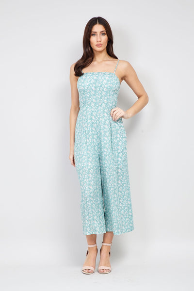 Green | Ditsy Floral Cropped Jumpsuit | Izabel London