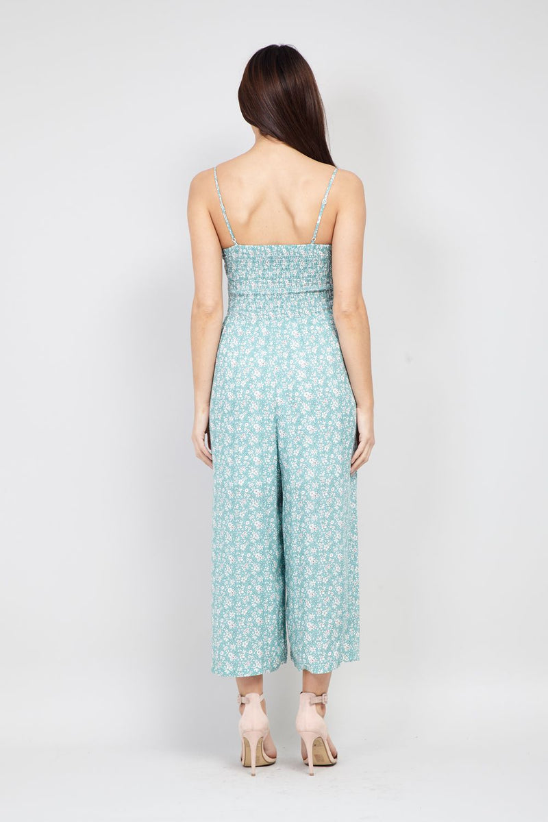 Green | Ditsy Floral Cropped Jumpsuit