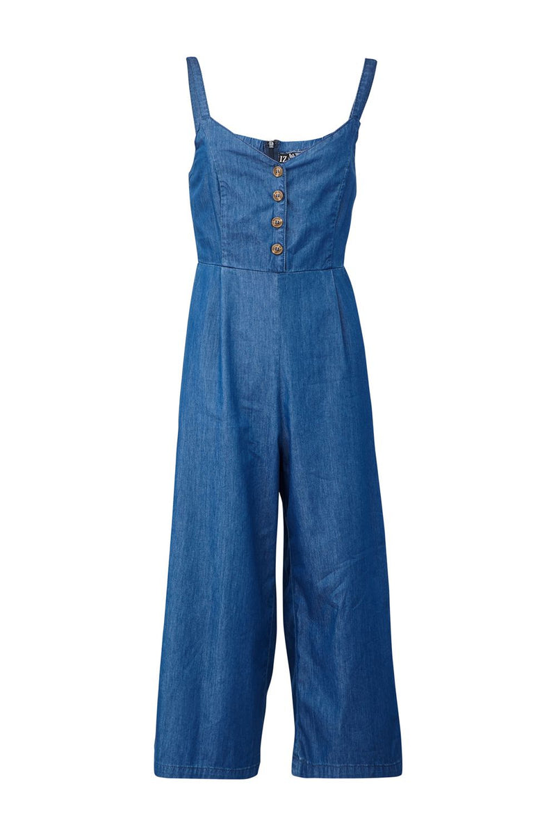 Blue | Denim Button Front Jumpsuit