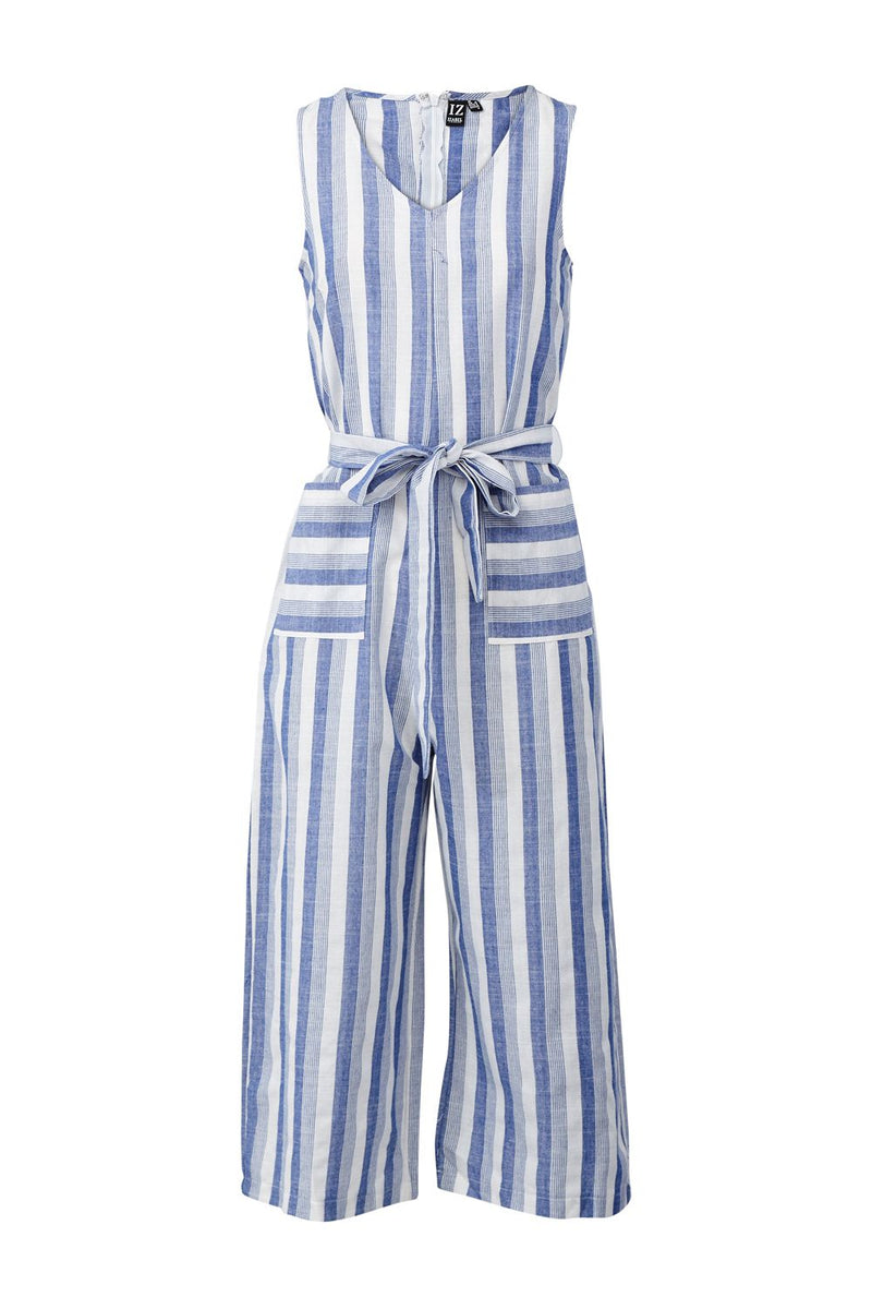 Blue | Striped Tie Waist Culotte Jumpsuit