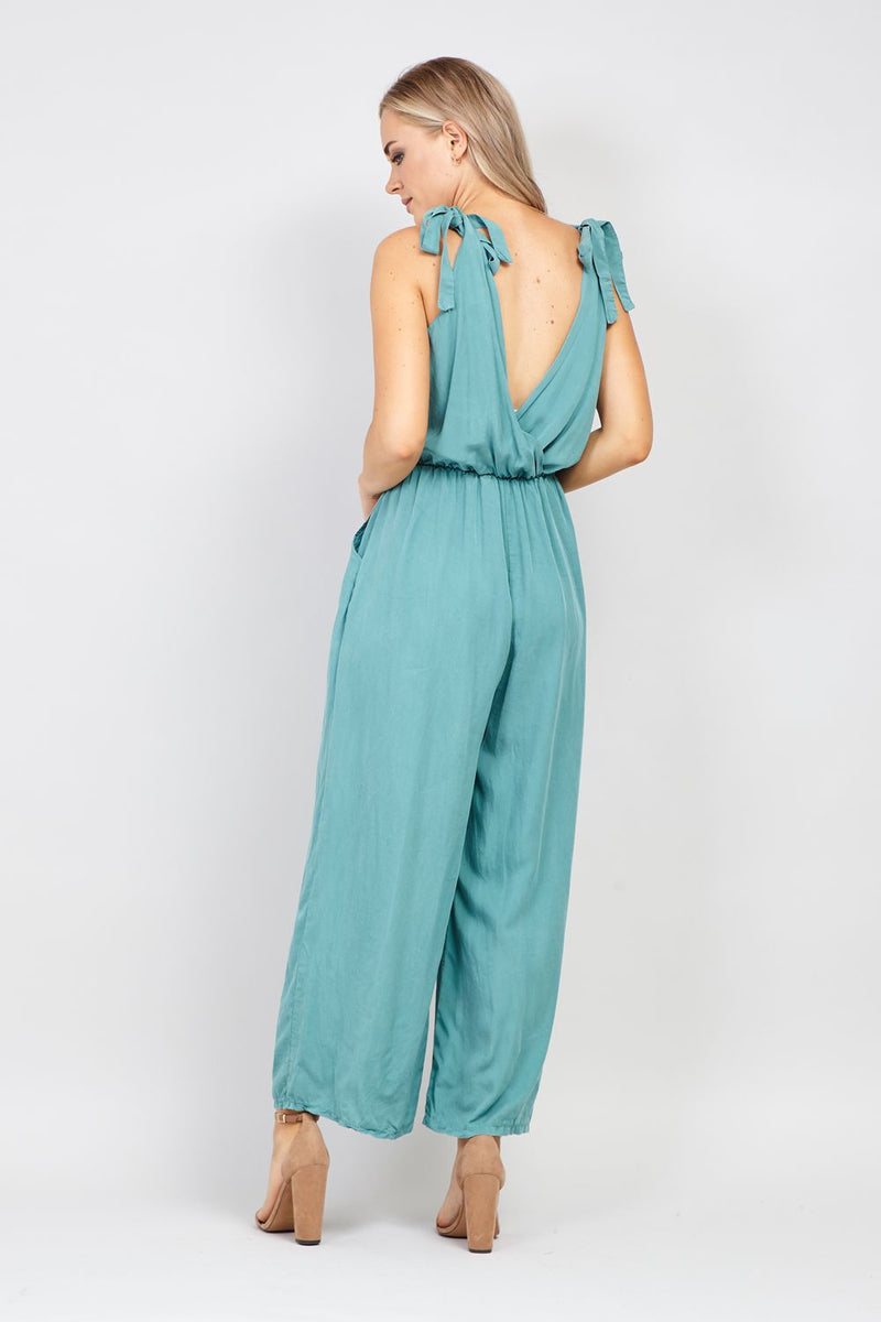 Teal | Tie Shoulder Jumpsuit
