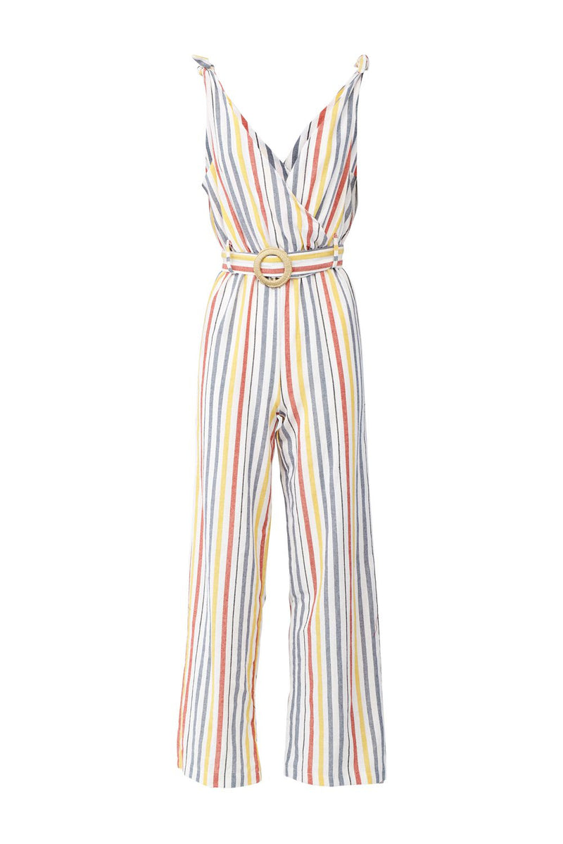 White | Striped Tie Waist Jumpsuit