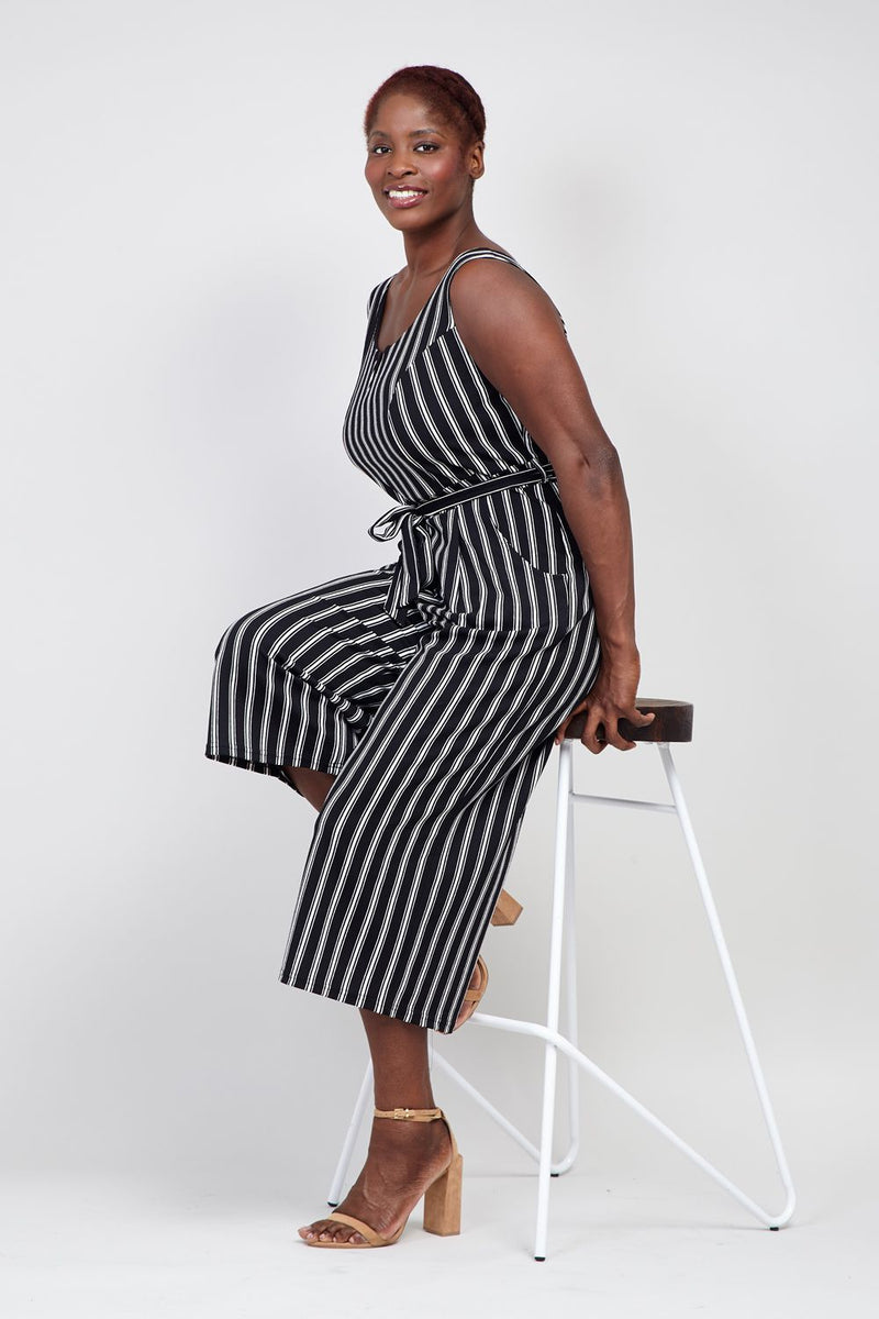 Black And White | Curve Striped Tie Waist Jumpsuit