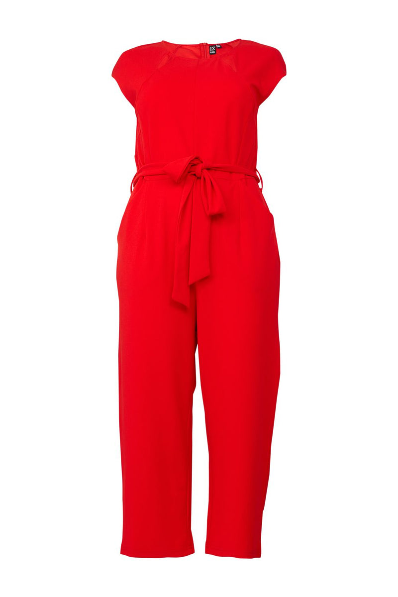 Red | Curve Tie Waist Jumpsuit