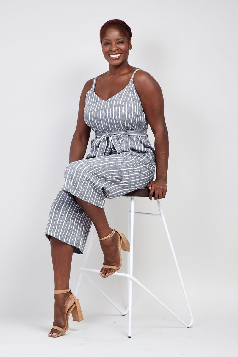 Grey | Curve Striped Wide Leg Jumpsuit