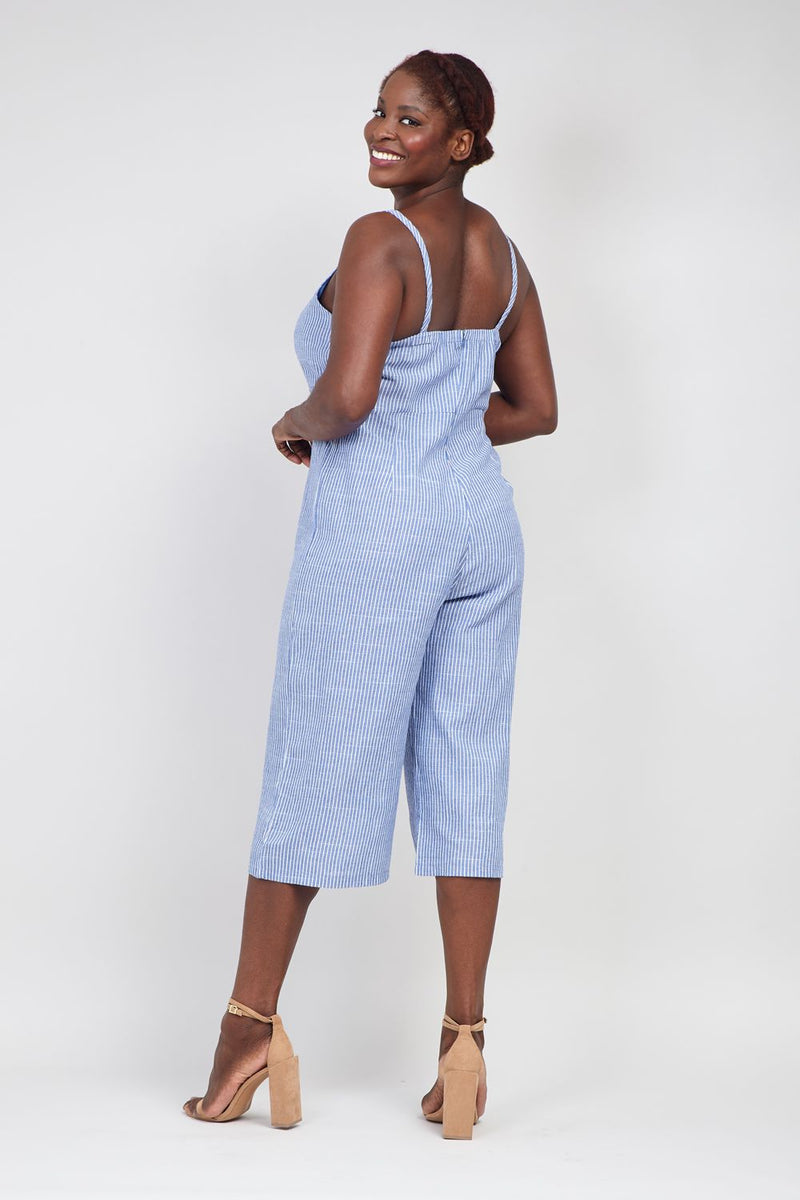 Blue | Curve Striped Cami Jumpsuit