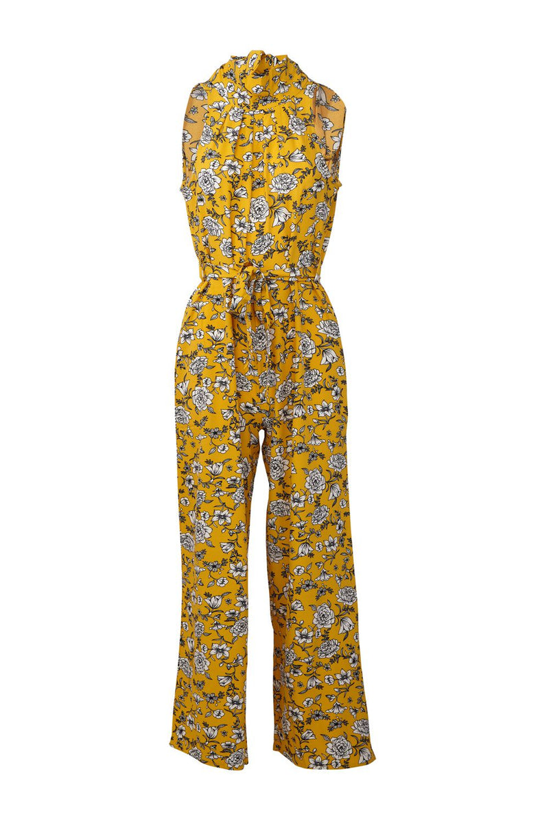 Yellow | Floral Print High Neck Jumpsuit