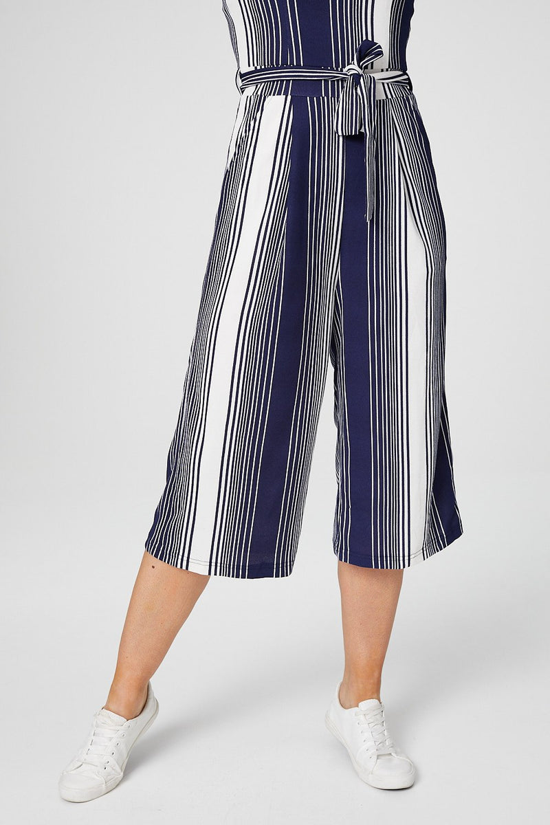 Navy | Striped Cami Cropped Jumpsuit