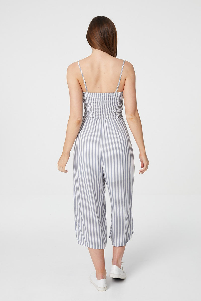 Navy | Striped Cropped Jumpsuit