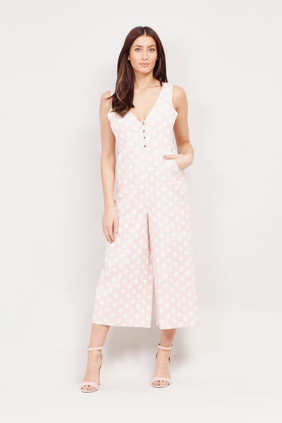 Pink | Polka Dot Cropped Jumpsuit | Izabel London