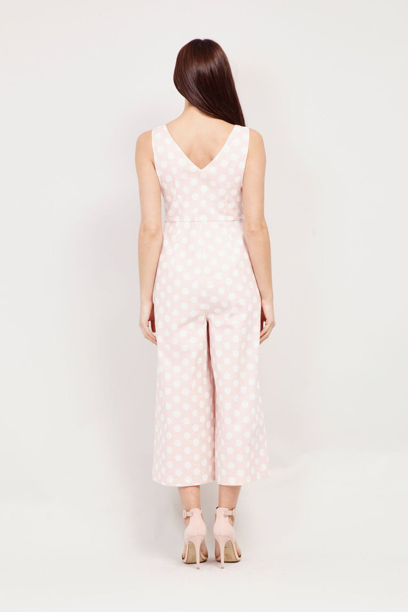 | Polka Dot Cropped Jumpsuit | Izabel London