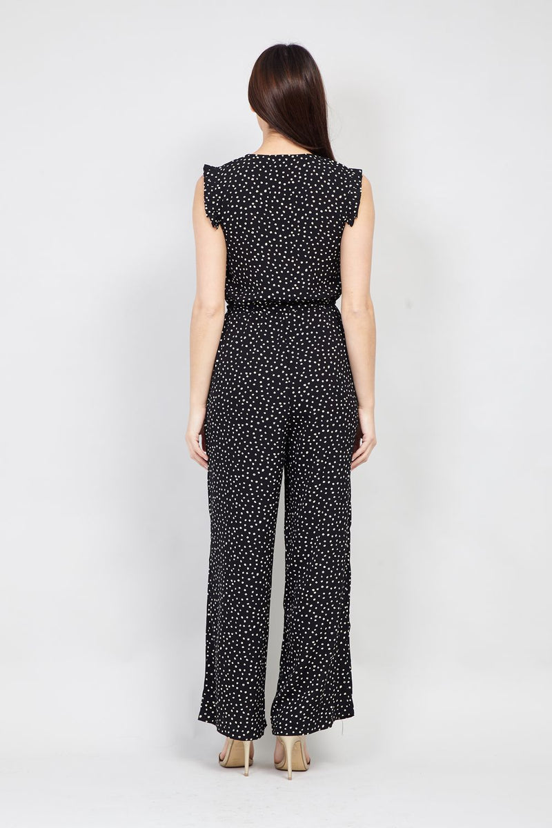 Black | Polka Dot Zip Front Jumpsuit