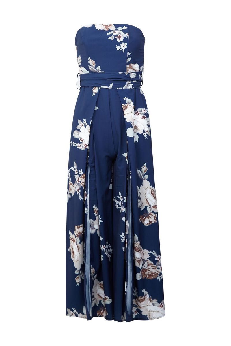 Navy | Floral Print Strapless Jumpsuit