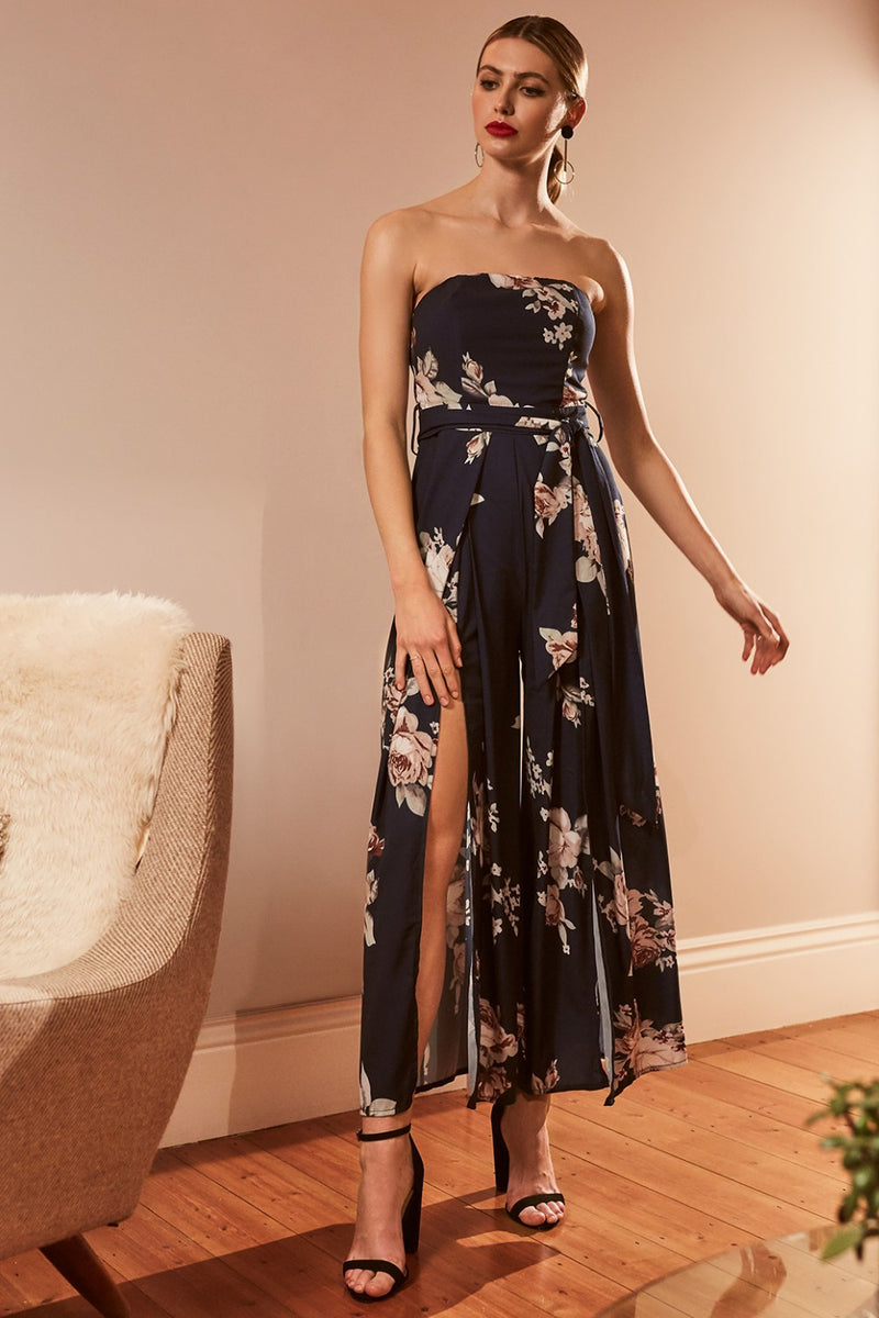 Floral Strapless Jumpsuit - Izabel London